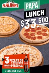 3 pizzas 1 ingrediente + Gaseosa