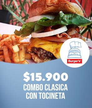 Burger's: Combo clasica 150gr con tocineta