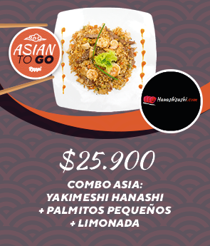Combo Asia: Yakimeshi Hanashi + Palmitos Pequeños + Limonada
