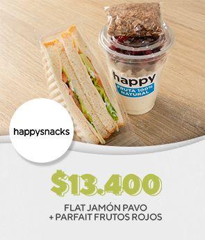 Flat Jamón Pavo + Parfait Frutos Rojos