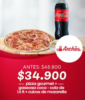 Pizza Gourmet+Coca-Cola+cubos