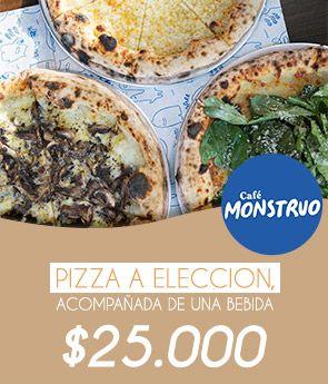 !Pizza a elección acompañado de una bebida 25.000!